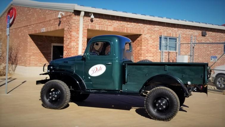 Green 1946 Dodge Truck with Duke Logo